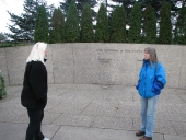 Megan and Lisa at Gerald R Ford\'s Burial Place beside the Grand River